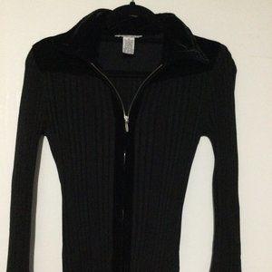 Cabi Black Ribbed Zipped Sweater Style